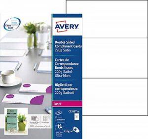 Avery 75 Cartes de Correspondance à Bords Lisses 220g - 210x99mm - Impression Laser - Satin - Blanc (C2359) de la marque Avery image 0 produit