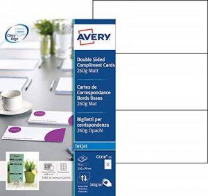 Avery 75 Cartes de Correspondance à Bords Lisses 260g - 210x99mm - Impression Jet d'Encre - Mat - Blanc (C2358) de la marque Avery image 0 produit