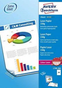 Avery Dennison Classic / 1798-200 Papier pour impression laser couleur A4 / 150g Blanc 200 feuilles (Import Allemagne) de la marque Avery image 0 produit