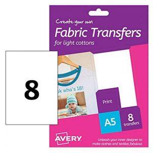 Avery HTT01 Lot de 8 Feuilles de Papiers transferts A5 Jet d'encre T-shirt/Textile Blanc Clair de la marque Avery image 0 produit