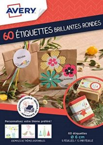 Avery Lot de 60 Etiquettes Cadeaux Imprimables Rondes - Ø6cm - Brillant - Blanc (J8105MC) de la marque Avery image 0 produit
