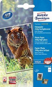 Avery zweckform c 2550-40 jet, revêtu de papier photo brillant - 250 g/m² 40 feuilles de papier photo 10 x 15 cm blanc de la marque Avery image 0 produit