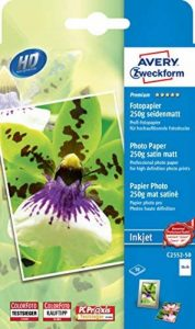 Avery Zweckform C2552-50 Paquet de 50 feuilles de papier photo 250 g mat satiné format 10 x 15 (Import Allemagne) de la marque Avery image 0 produit
