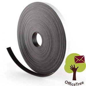 Bande magnétique OfficeTree ® - 10 m - Autocollante pour aimanter photos, notes, ou cadres en toute sécurité – Adhésion extraforte sur tableau blanc, tableau aimanté, tableau noir - noir de la marque OfficeTree image 0 produit