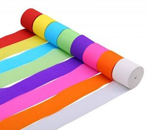 Banderoles en papier crépon pour fête d'anniversaire, de mariage, couleurs assorties, 4,5 cm x 25 m de la marque CAMTOP image 0 produit