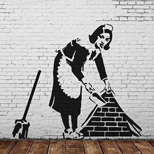 banksy DEMOISELLE taille réelle pochoir mural Spray peindre votre propre BANKSY Art FONCTIONNERA sur interne ou extérieur murs de la marque Ideal Stencils image 0 produit