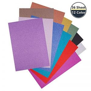 """BENECREAT 36 feuilles A4 taille Glitter papier cartonne carte mousseux avec 12 couleurs vives pour l'artisanat bricolage, projets d'artisanat, fabrication de cartes-11.4 """"x 8.3"""" de la marque BENECREAT image 0 produit"""