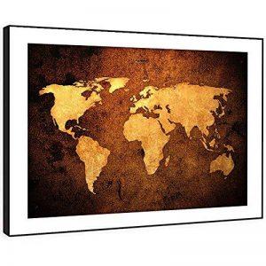 BFAB092c - art mural d'impression photo encadrée - mappemonde papier vieilli chambre abstrait moderne salon paysage pièce décor facile accrocher guidage (58x41cm) de la marque Whats On Your Wall.com image 0 produit