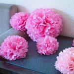 Bliqniq 15x fleurs en papier de soie pour la décoration de la noce,du baby shower.Blanc/Rose Clair/Rose(ø20,25,35cm) de la marque Bliqniq image 3 produit