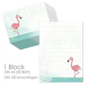 """'Bloc """"Flamingo DIN A5(ligné 50feuilles) avec 20enveloppes/lettre Bloc-notes/Papier Set/Papier à lettre pour enfant enfants/Papier à lettres pour fille de la marque emufarm image 0 produit"""
