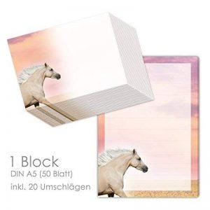 'Bloc-notes/lettre Bloc Palomino/PFERD DIN A5(ligné 50feuilles) avec 20enveloppes/Papier à lettre Cheval, Chevaux de la marque emufarm image 0 produit