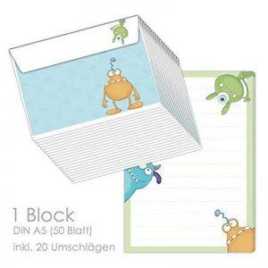 """'Bloc-notes/lettre Block """"Monster DIN A5(Bloc Ligné 50feuilles) avec 20enveloppes/pour lettres, Papier à lettre de la marque emufarm image 0 produit"""