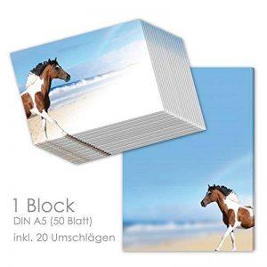 """'Bloc-notes/lettre Block """"Paint Horse DIN A5(ligné 50feuilles) avec 20enveloppes/Papier à lettre Cheval/Papier à lettres pour fille de la marque emufarm image 0 produit"""
