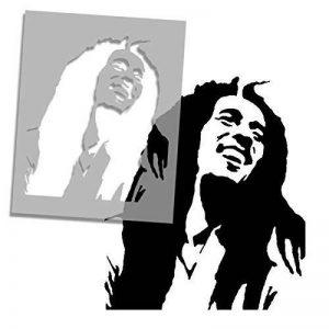 BOB MARLEY Façade pochoir iconic portrait mural de maison décor & ART POCHOIR PEINTURE SUR MESURE produits et ajouter peint finition à Murs, Fabrics, meuble et plus de la marque Ideal Stencils image 0 produit