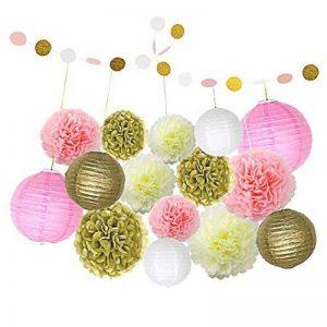 borte Un ensemble de 16 décorations de fête avec des pompons en papier de soie et des lanternes en papier et de la ficelle de papier pour la décoration d'anniversaire de filles de la marque borte image 0 produit