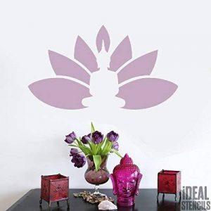 Bouddha Fleur De Lotus Pochoir Réutilisable Décoration murale d'intérieur, Art & artisanat pochoir peinture murs TISSUS & MEUBLES - semi transparent pochoir, S/14X25cm de la marque Ideal Stencils image 0 produit