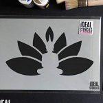 Bouddha Fleur De Lotus Pochoir Réutilisable Décoration murale d'intérieur, Art & artisanat pochoir peinture murs TISSUS & MEUBLES - semi transparent pochoir, S/14X25cm de la marque Ideal Stencils image 1 produit
