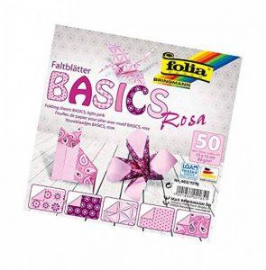 Bringmann Folia Feuilles pour pliage Basics, 80g/m², 50feuilles assorties, avec 5motifs différents, Rosa, 15 x 15 cm de la marque Bringmann image 0 produit