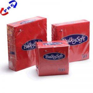 BulkySoft 24 cm-Rouge-Lot de 100 serviettes en Papier double épaisseur de la marque Plasware image 0 produit