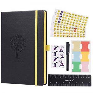 Bullet Journal/Carnet Pointillé - Lemome Dotted Numbered Pages Couverture Rigide A5 avec Porte-Stylo - Papier épais Premium (125g/m²) + Cadeaux en Prime (Noir) de la marque Lemome image 0 produit