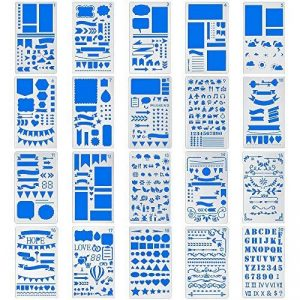 Bullet Journal Pochoirs 20pièces en plastique 10,2x 17,8cm Planning Pochoirs Journal/portable/agenda/Scrapbooking DIY Pochoir de gabarit de dessin de la marque CASE E-Craft image 0 produit