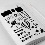 Bullet Journal Pochoirs 20pièces en plastique 10,2x 17,8cm Planning Pochoirs Journal/portable/agenda/Scrapbooking DIY Pochoir de gabarit de dessin de la marque CASE E-Craft image 1 produit