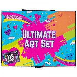 CADEAU POUR FILLES KIT D'ART POUR FETE ET ANNIVERSAIRE – ensemble créatif de dessiner, scrapbooking, doodling, barbouillage, 118 paillettes, stylos, crayons, pastels, peintures de la marque GirlZone image 0 produit