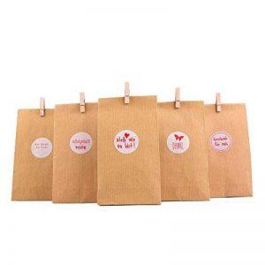"""'Cadeau Sachets Set """"Nature, 72tlg., 24pochettes cadeaux + 24autocollant + 24mini pinces en bois–Cadeau sac pour cadeaux de toutes sortes, biscuits, biscuits, etc. de la marque EAST-WEST Trading GmbH image 0 produit"""