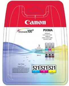 Canon - CLI-521 - Cartouche d'Encre d'Origine - Pack de 3 - Cyan, Magenta, Jaune de la marque Canon image 0 produit