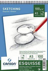 Canson 200005776 Album Esquisse 70 feuilles Papier à dessin 100g 14,8 x 21 cm - A5 Blanc de la marque Canson image 0 produit