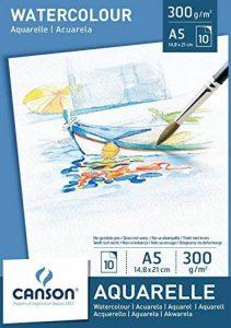 Canson 200005788 - Watercolour Papier aquarelle, Blanc, (A5, 14.8 x 21 cm, 300 gsm), 10 feuilles de la marque Canson image 0 produit
