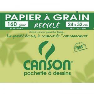Canson - 200777100 - Pochette de 10 feuilles de papier dessin recyclé - 160 g - 24 x 32 cm de la marque Canson image 0 produit