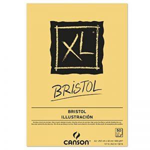 Canson 400039173Bloc XL bristol très lisse, 180g/m², bloc 50feuilles par bloc, encollé sur le côté court, 297x 420mm, blanc de la marque Canson image 0 produit