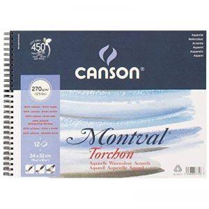 """'CANSON AQ Montval Torchon Aquarelle, 270g/m², 12Feuilles par bloc """"Spirale sur le côté court blanc 24 x 32 cm weiß de la marque Canson image 0 produit"""