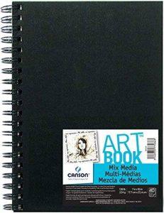 Canson Art Book Mix Media Carnet à spirale papier à dessin Blanc 40 feuilles 224 g 17,8 x 25,4 cm Couverture Noire de la marque Canson image 0 produit