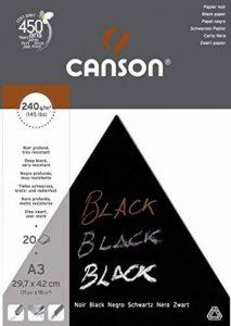 Canson Arts graphiques Black Papier à dessin A3 29,7 x 42 cm 20 feuilles Noir profond de la marque Canson image 0 produit