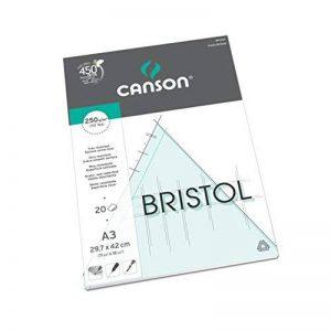 Canson Arts graphiques Bristol Papier à dessin A3 29,7 x 42 cm 20 feuilles Extra Blanc de la marque Canson image 0 produit