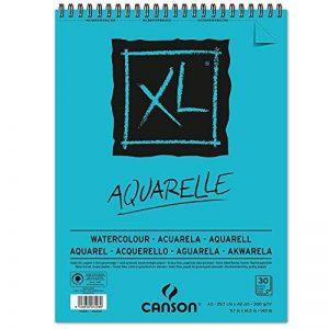 Canson Bloc de croquis et d'études XL aquarelle, DIN A3, 30feuilles, 300g/m², 297x 420mm, spiralé en tête de la marque Canson image 0 produit