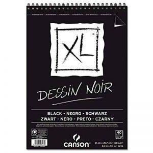 'CANSON bloc dessin xl noir Schéma, légèrement bouffant. 150g/m², 40feuilles par bloc Spirale sur le côté court, noir 210 x 309 mm noir de la marque Canson image 0 produit