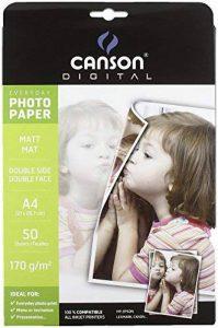 Canson Digital Everyday Papier Photo Double Face Mat 170 g A4 Blanc - Lot de 50 Feuilles de la marque Canson image 0 produit