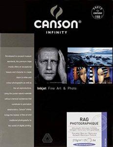 Canson InFinity Rag Photographique Papier Photo 25 Feuilles 210 g A4 Blanc de la marque Canson image 0 produit
