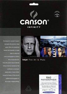 Canson InFinity Rag Photographique Pochette Papier Photo 210 g A4 Blanc de la marque Canson image 0 produit