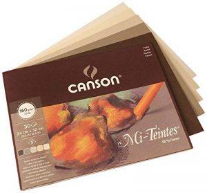 Canson Mi-Teintes Bloc collé petit côté Papier à Dessin 160 g/m² Grain Nid d'Abeille 24 x 32 cm 5 Nuances de Terre de la marque Canson image 0 produit