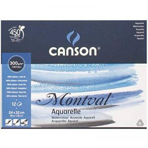 Canson Montval 200807319 Bloc Papier aquarelle 12 feuilles 300g Grain fin 24 x 32 cm Blanc naturel de la marque Canson image 0 produit