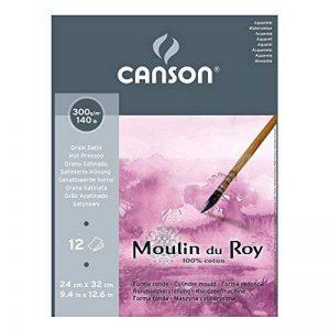 Canson Moulin du Roy Bloc collé petit côté Papier aquarelle Grain Satin 24 x 32 cm 12 feuilles Blanc Naturel de la marque Canson image 0 produit