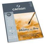 Canson Moulin du Roy Bloc collé petit côté Papier aquarelle Grain Torchon 24 x 32 cm 12 feuilles Blanc Naturel de la marque Canson image 1 produit