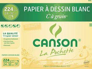 Canson Pochette C à grain Papier à dessin 12 feuilles 224 g 24 x 32 cm Blanc Naturel de la marque Canson image 0 produit