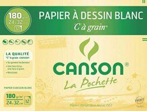 Canson - Pochette de 12 feuilles de papier dessin C A GRAIN 180g - 24x32cm de la marque Canson image 0 produit