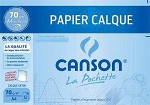 Canson Pochette Papier calque satiné 12 feuilles 70 g A4 Translucide de la marque Canson image 0 produit