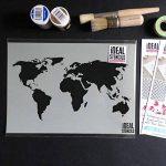 Carte du monde décor maison pochoir peinture murs, Fabrics & MEUBLE SUR MESURE Décoration Pochoir - semi transparent pochoir, XXL/ 53x100cm de la marque Ideal Stencils image 2 produit